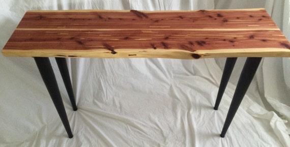 Live edge red cedar sofa table entryway console