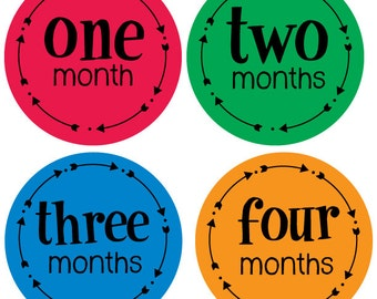 Baby Month Stickers for boys, Months 1-12 Tribal Arrow Stickers for Bodysuits, Primary Colors,  Baby Photo Op Stickers