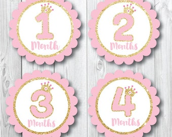 Monthly Baby Stickers, Pink Gold Crowns, Baby Stickers for Girls, Milestone Stickers, Months 1-12, Baby Shower Gift, Pink Glitter Monthly