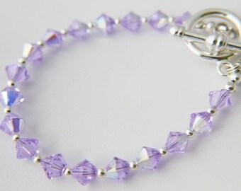 Violet Swarovski Crystal Sterling Silver Bracelet