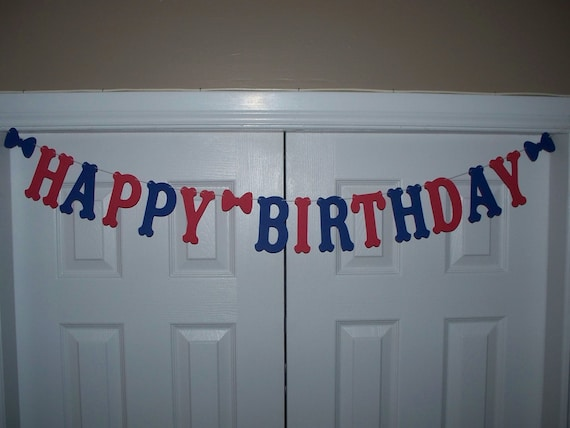 HAPPY BIRTHDAY Letter Banner Royal Blue & Red Cardstock