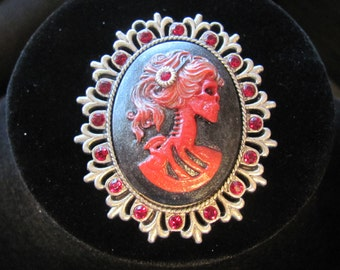 Red Lolita Crystal Cameo Brooch