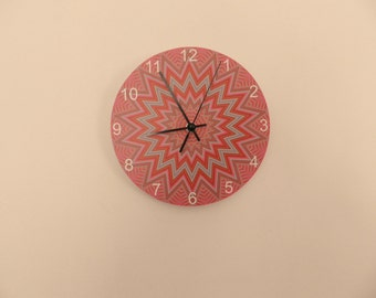 Coloured modern wall clocck, retro wall clock,Housewares, coloured, boys room  coloured  round or square  striped nursery décor