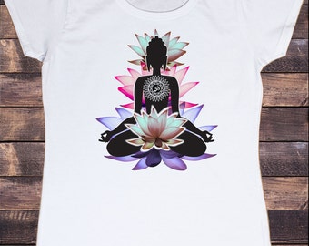 Women's White T-shirt Buddha Lotus Spiritual Yoga Zen  Print TS108