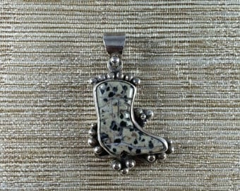 Sterling Silver Dalmation Jasper Etched Stone Boot Pendant