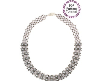 Hong Kong Pearls Beadwork Necklace Pattern Beading Tutorial PDF Seed Beads