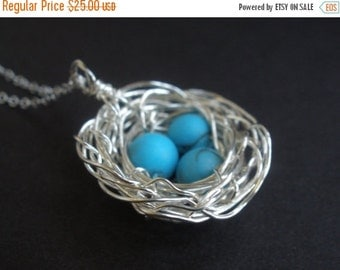 SALE Mother's Necklace, Mother's Jewelry, Mother's Gift, Turquoise, Sterling Silver Bird Nest,  Pearl, Wire Wrapped, Nest Necklace, Friend G