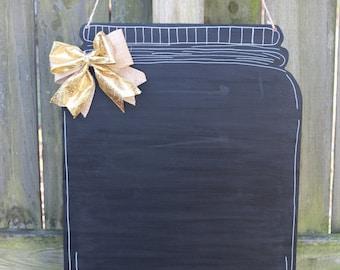 Mason Jar Chalkboard Wooden Door Hanger