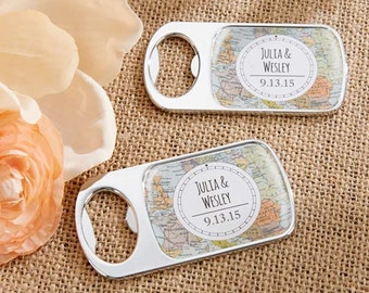 Personalized Silver Bottle Opener with Epoxy Dome Travel and Adventure Wine Openers Wedding Favors World Map Destination Keepsake