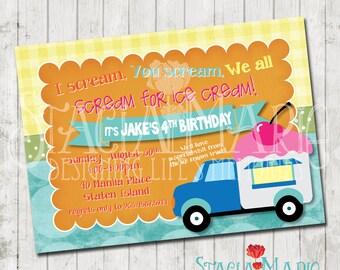 Ice Cream Truck Party Birthday Invitation