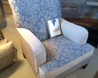 AVAILABLE  Blue Damask Club Chair