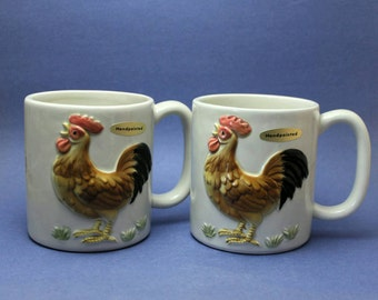 Otagiri Rooster Mugs, Country Kitchen Mugs
