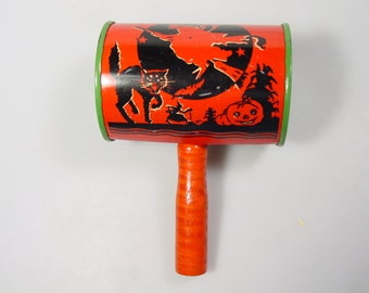 Vintage Mid Century Halloween collectible, Halloween toy Noise maker, US Metal toy Witch Black Cat Tin Lithograph toy party favor