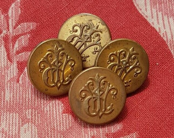 Set of 4 x  Rare 19thC Antique French Tiny Paris Brass Heraldic Scrolled Monogrammed Buttons-Noble Family Crest perhaps....
