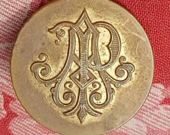 Singular Rare 19thC Antique French Large Paris Perfectionné Brass Heraldic Scrypted Scroll Monogram Button-Initials AP Perhaps....?!