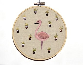 Pink flamingo with gold pineapples, hand embroidered hoop art
