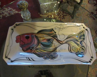 ART POTTERY PLATTER Signed Salom