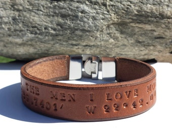 FREE SHIPPING-Leather Bracelet,Bracelet for Men, Mens Bracelet,Personalized Leather Bracelet,Custom Bracelet,Leather Wristband,Cuff Bracelet