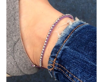 Purple macrame anklet with silver beads