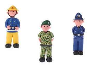 Clay Dough Cake Toppers. Fireman. Soldier. Policeman.