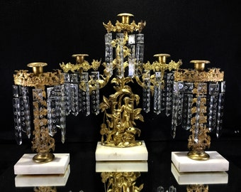 Glittering Girandole Set Circa 1875 Colonial Cut Prisms 3 Pieces Gilt