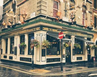 London Pub, London Print, British Pub, English Pub, Office Decor, Travel Photo, Fine Art Print, English Pub, Wall Art, cream, green, gold