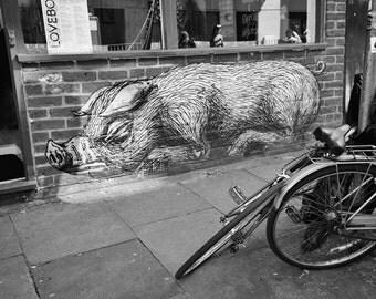 Graffiti Print, London Street Art Photography, Black and White, Fine Art Print, Contemporary Wall Art, Boys Room Decor, Urban Decor, ROA pig