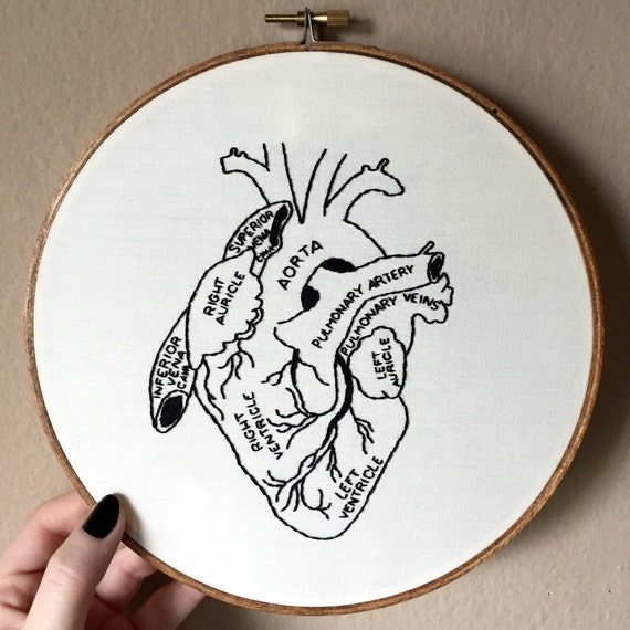 Anatomical Human Heart Hand Embroidery Hoop Art By