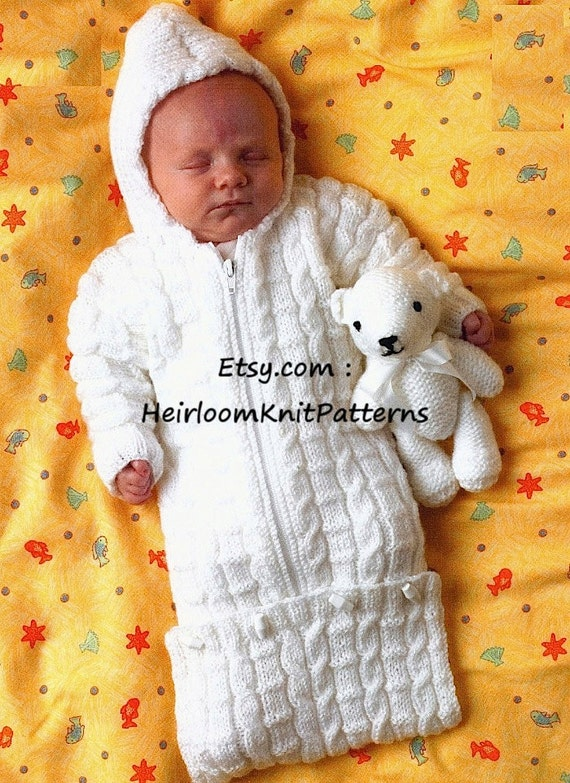 Baby Sleeping Bag Knitting Pattern : Baby Knitting Pattern Baby Sleeping Bag Sweater Jacket