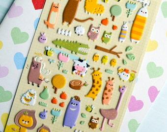 Crazy Animal Kawaii Puffy Stickers Planner