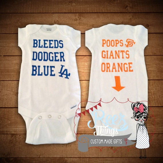 Baby Bodysuit Baseball Custom Funny Bleeds Dodger Blue