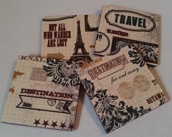 Set of Four Travel Inspired Coasters / Ceramic Coasters / Travel Coasters / Paris Coasters / Maroon Coasters