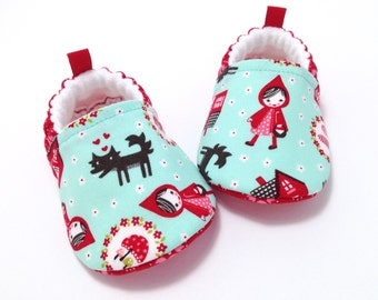Little Red Riding Hood Baby Shoes, Soft Sole Baby Shoes, Baby Booties, Baby Shower Gift, Red Toddler slippers, Aqua Baby Shoes, Baby Girl