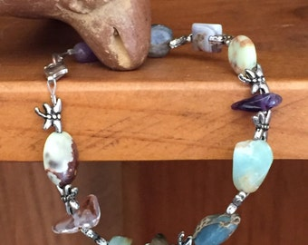 Bracelet Women's with Silver Dragonflies and Mixed Color Beads