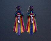 Mexican jewelry - Cross earrings - Tassel earrings - Statement earrings - Long earrings - Bohemian earrings - Talavera
