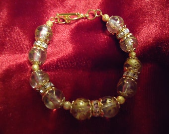 Gold Swirls and Crystals Bracelet
