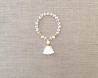 Agate and Tassel Bracelet