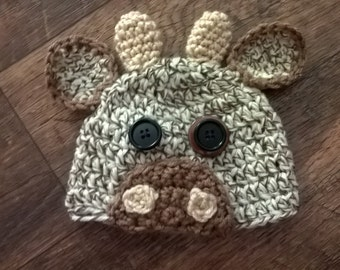 Crochet Cow Hat, newborn