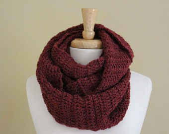 Maroon infinity scarf - Crochet circle scarf - Crochet infinity scarf - Handmade wool scarf - Gifts for her - Gifts under 50 - Cognac scarf