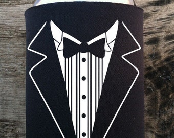 Wedding Coozie, Coozie, Tuxedo, Groomsmen, Bachelor party, Best Man, Groomsman, Father of the groom, Personalized coozie, can cooler