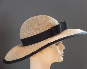 Sinamay wide brim hat, natural sinamay Derby hat, black grosgrain double  bow, picture hat, hand made, races, tea