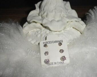 Pink Swarovski Crystal Earrings, Pink Crystal Earrings Set, Post Earrings, Stud Earrings, Vintage Fashion Jewelry