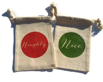 Naughty and Nice Christmas Muslin 4x6 Gift Bags Set of 10, Party Favors Stocking Stuffers Red Green Custom #s Available