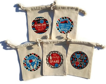 Softball party favors set of 10 muslin 4x6 gift bags hit like bowling party favors set of 10 muslin 4x6 gift bags boy birthday treat goody bag ball negle Image collections