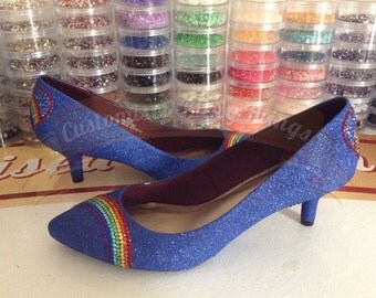Rainbow Crystal Toe Kitten Heels - Royal Blue - Bridal - Wedding Shoes - Bridesmaid - Prom - Party - Customised Shoes - UK Size 3-8