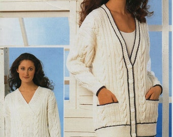 "womens aran sweater cardigan knitting pattern PDF download ladies long cable jacket jumper 32-42"" aran worsted 10ply PDF Instant Download"