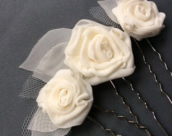 Bridal hair pins, ivory roses and leaf hair accessories, wedding flower hairpins, set of 3, art deco wedding, Autumn Leaves Collection