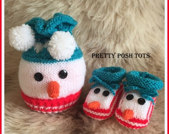Snazzy Snowman hat and bootee pdf pattern