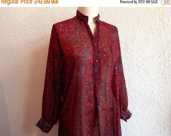 SALE 1970s Indian cotton tunic blouse