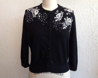 1960s black embroidered and beaded wool cardigan